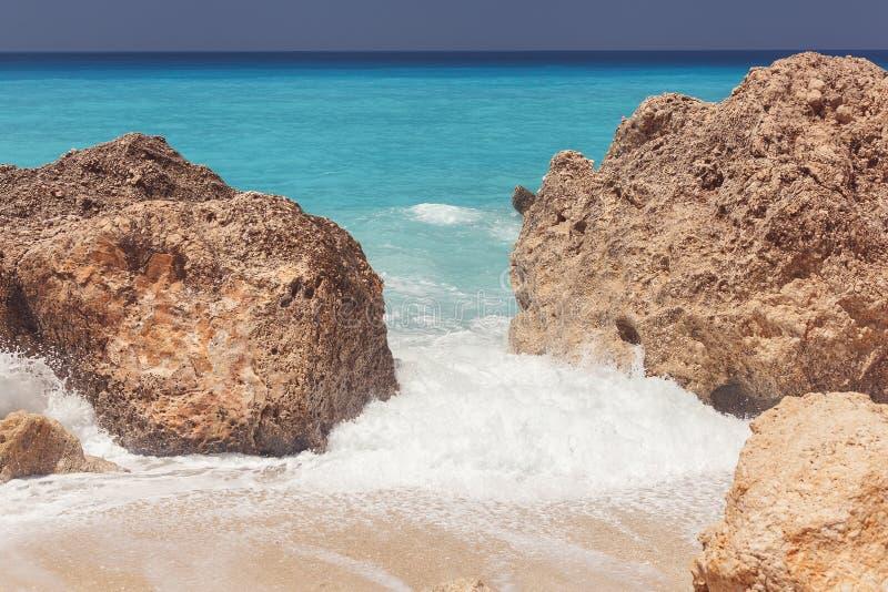Praia de Kalamitsi, mar Ionian, Lefkada fotografia de stock