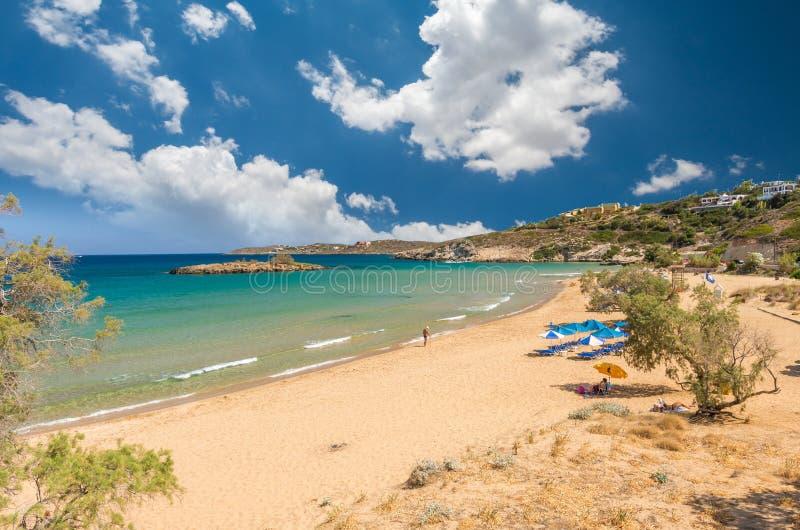 Praia de Kalathas, ilha da Creta, Grécia fotos de stock royalty free