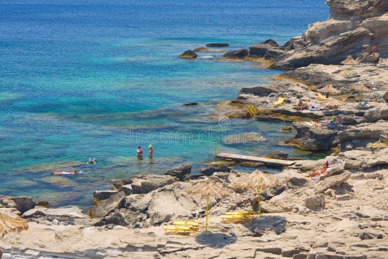 Praia de Kalithea, o Rodes, Grécia foto de stock royalty free