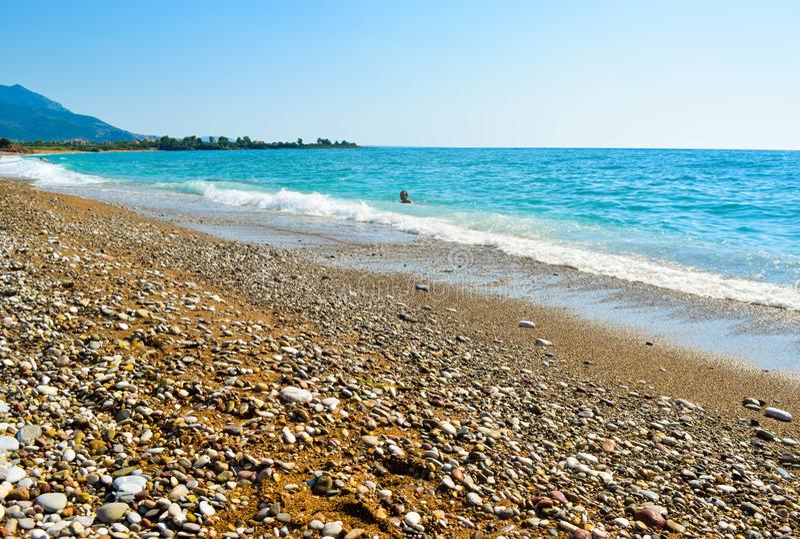 A praia de Kalo Nero foto de stock