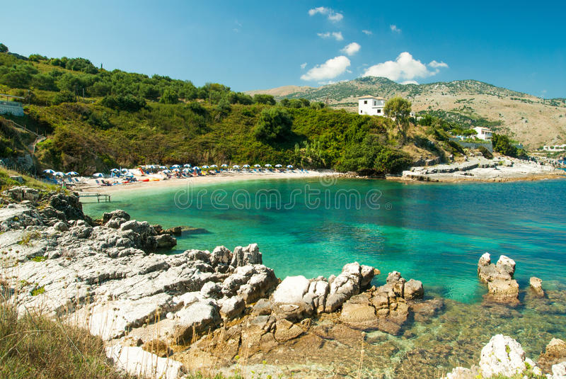 Praia de Kassiopi, ilha de Corfu, Grécia fotografia de stock