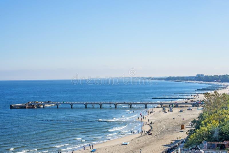 Praia de Kolobrzeg, Polônia, mar Báltico imagens de stock