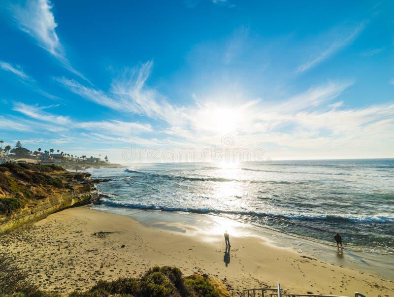 Praia de La Jolla no por do sol imagens de stock royalty free