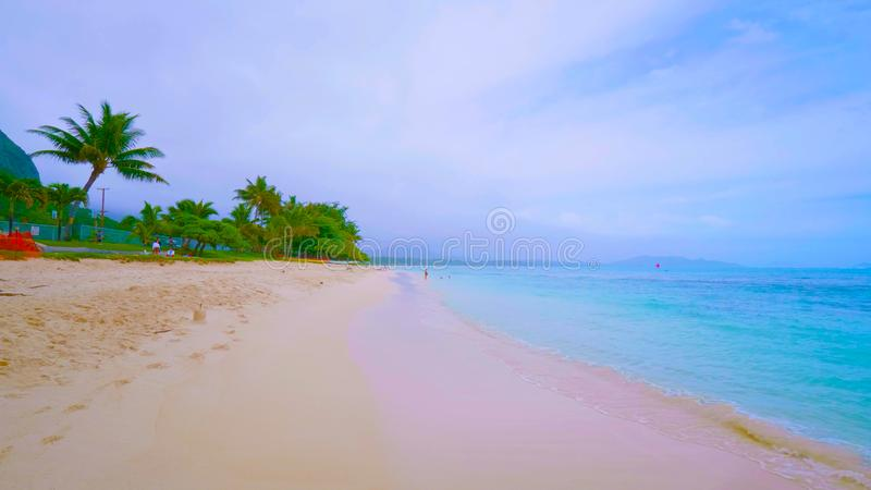 Praia de Lanikai em Havaí Oahu foto de stock royalty free