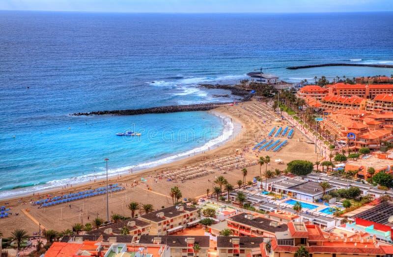 Praia De Las Vista do ar, Ilhas Canárias de Fuente, Tenerife imagens de stock royalty free