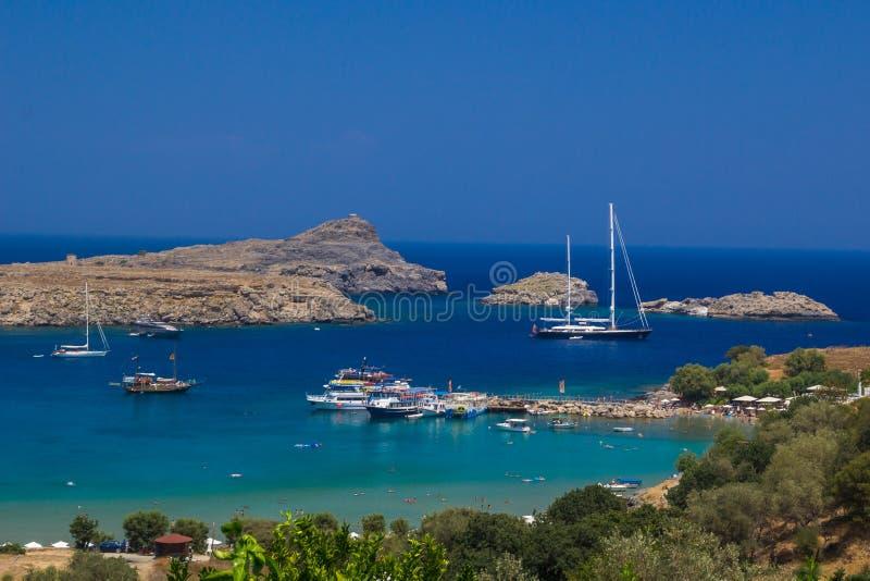 Praia de Lindos em Rhodes Island foto de stock royalty free