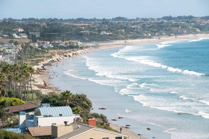 Praia de Malibu battened para baixo com sacos de areia fotografia de stock royalty free