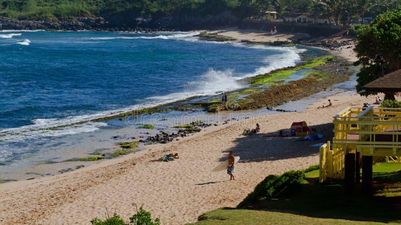 Praia de Maui na estrada a Hanna fotografia de stock