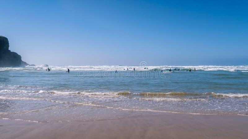 Praia de Mawgan Porth, Cornualha norte, Reino Unido imagem de stock