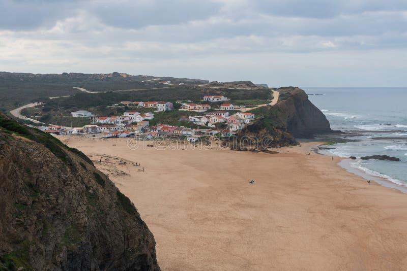 Praia de Monte Clerigo beach in Costa Vicentina, Portugal. Praia de Monte Clerigo beach in Costa Vicentina, in Portugal royalty free stock images