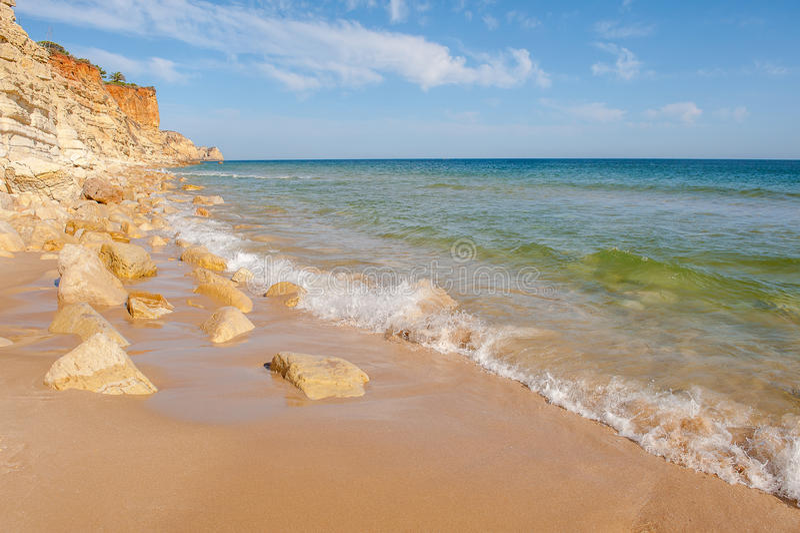 Praia De Mos海滩,拉各斯,阿尔加威,葡萄牙 库存图片