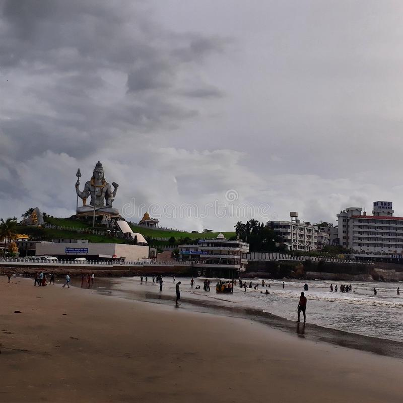 Praia de Murudeshwara foto de stock royalty free