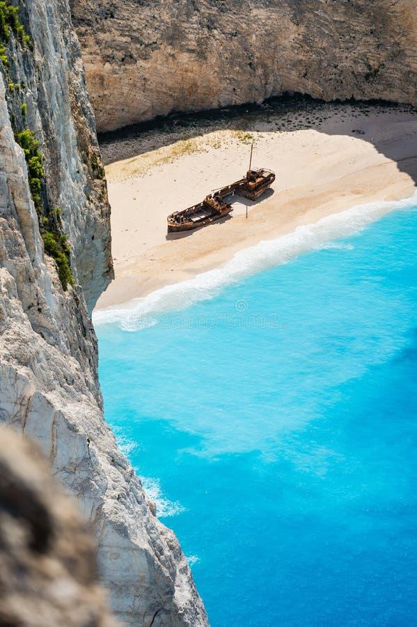 Praia de Navagio, Zakynthos, Grécia imagens de stock