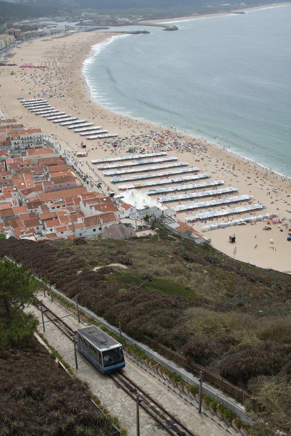 Praia de Nazare, Portugal foto de stock royalty free