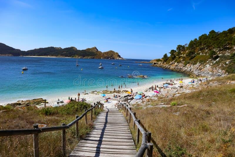 Praia de Nossa Señora em ilhas de Cies imagem de stock
