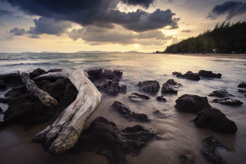 Praia de Pala quando por do sol fotos de stock royalty free