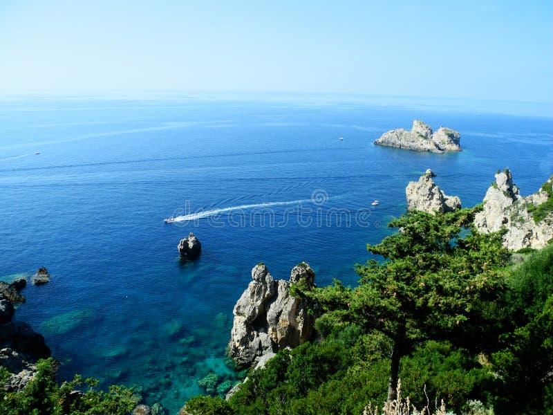 Praia de Paleokastrica em Corfu Kerkyra, Grécia fotos de stock royalty free