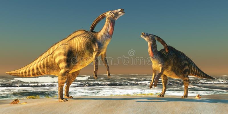Praia de Parasaurolophus ilustração stock
