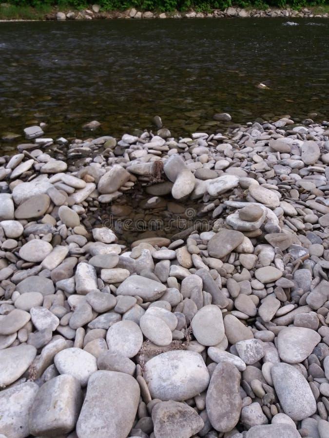 Praia de pedra no rio fotos de stock royalty free