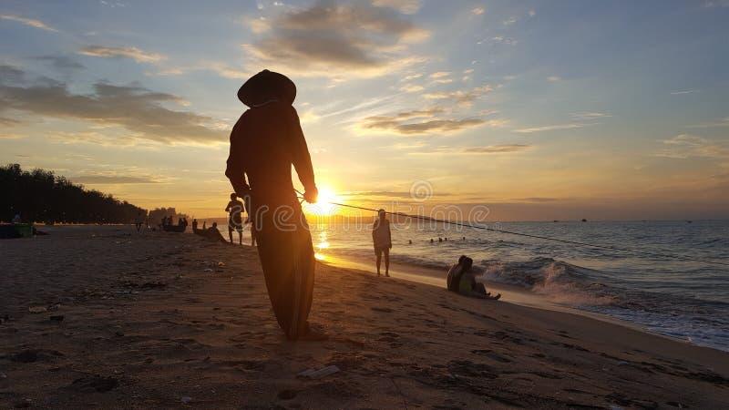 Praia de Phan Thiet na manhã fotos de stock royalty free