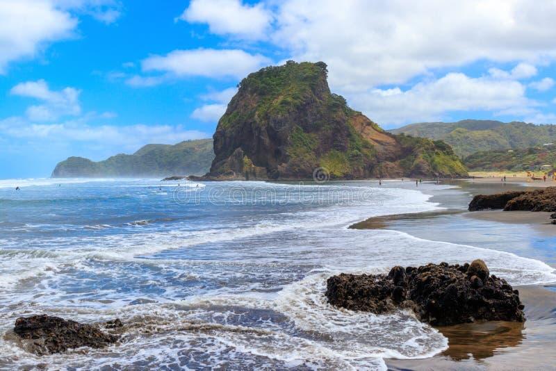 Praia de Piha, costa oeste perto de Auckland, Nova Zelândia fotos de stock royalty free