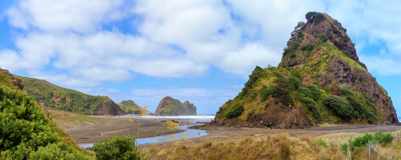 Praia de Piha e Lion Rock, região de Auckland, Nova Zelândia fotografia de stock royalty free