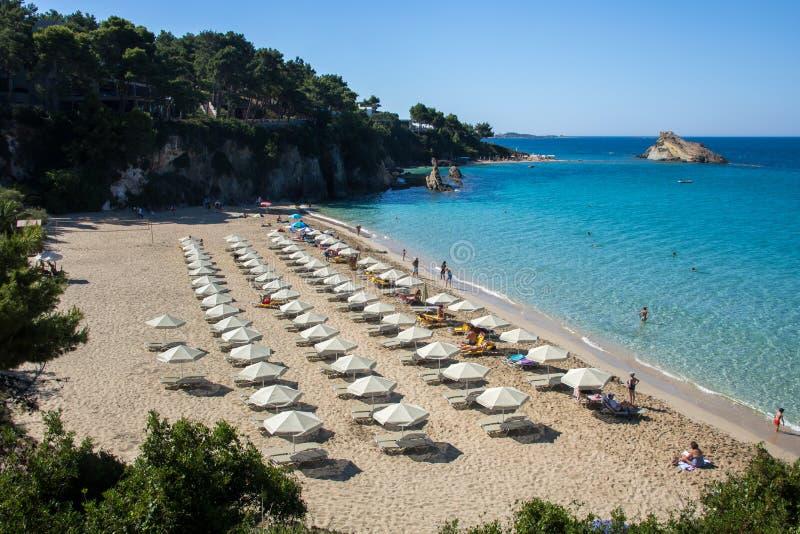 Praia de Platis Gialos, ilha Kefalonia, Grécia foto de stock