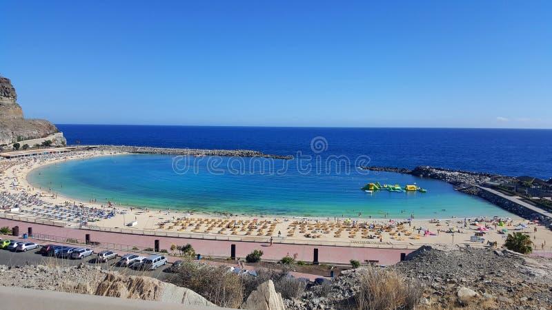 Praia de Playa de Amadores perto da cidade de Porto Rico fotos de stock royalty free