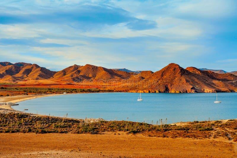 Praia de Playa de los Genoveses no parque natural de Cabo de Gata-Nijar, imagens de stock royalty free