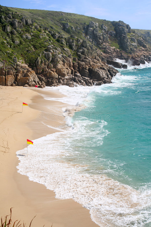 Praia de Porthcurno. fotos de stock royalty free