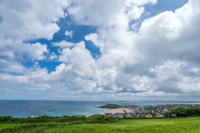 Praia de Porthemor em St Ives fotos de stock royalty free