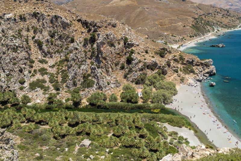 Praia de Preveli, Crete imagens de stock royalty free