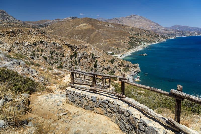 Praia de Preveli, Crete imagens de stock