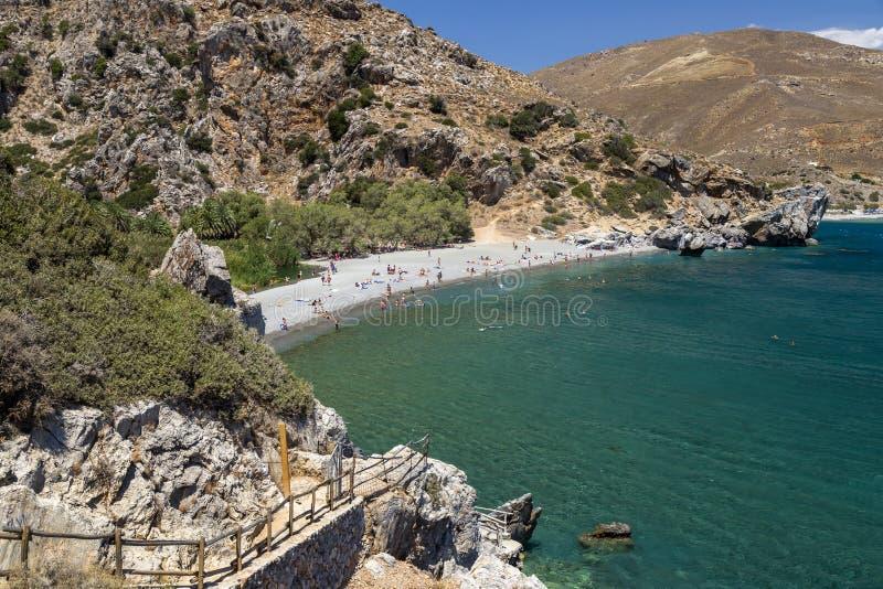 Praia de Preveli, Crete foto de stock