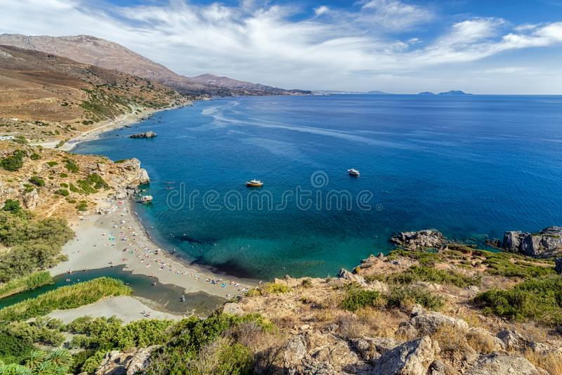 Praia de Preveli na ilha da Creta, Grécia imagem de stock