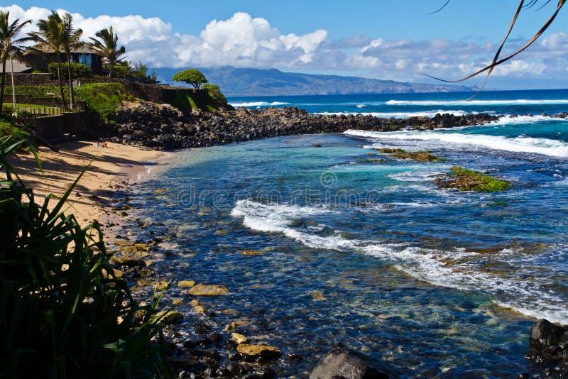 Praia de Puamana, Maui imagens de stock