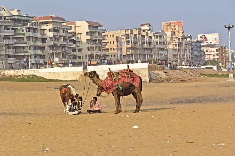 Praia de Ramakrishna em Vishakhapatnam foto de stock royalty free