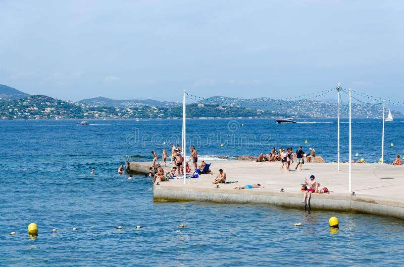 Praia de Saint Tropez fotografia de stock