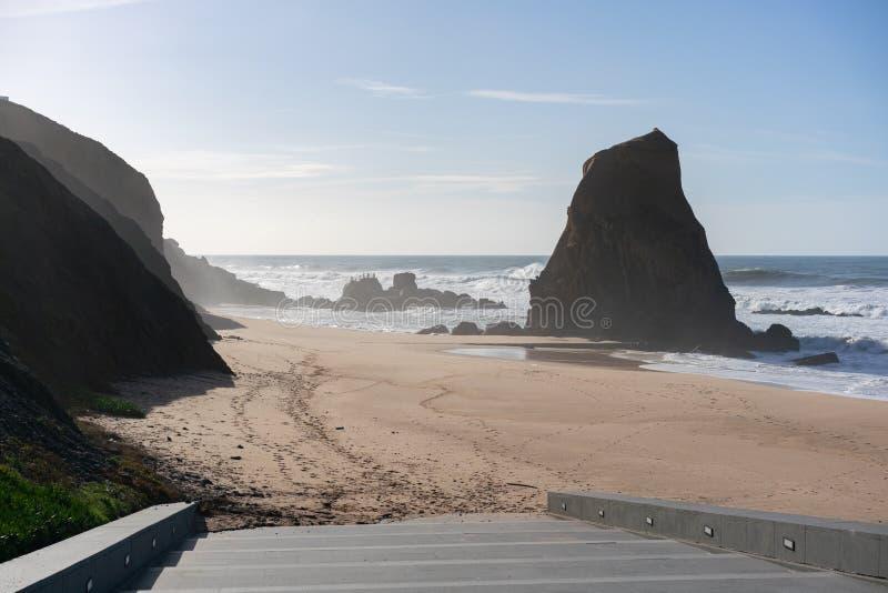 Praia de Santa Cruz beach in Portugal. Praia de Santa Cruz beach with atlantic ocean in Portugal stock photography