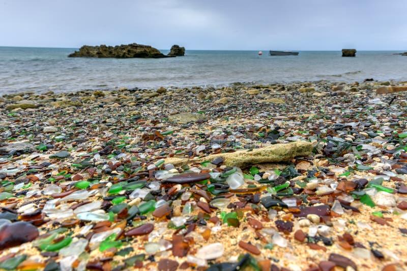 Praia de Seaglass - Bermuda imagens de stock