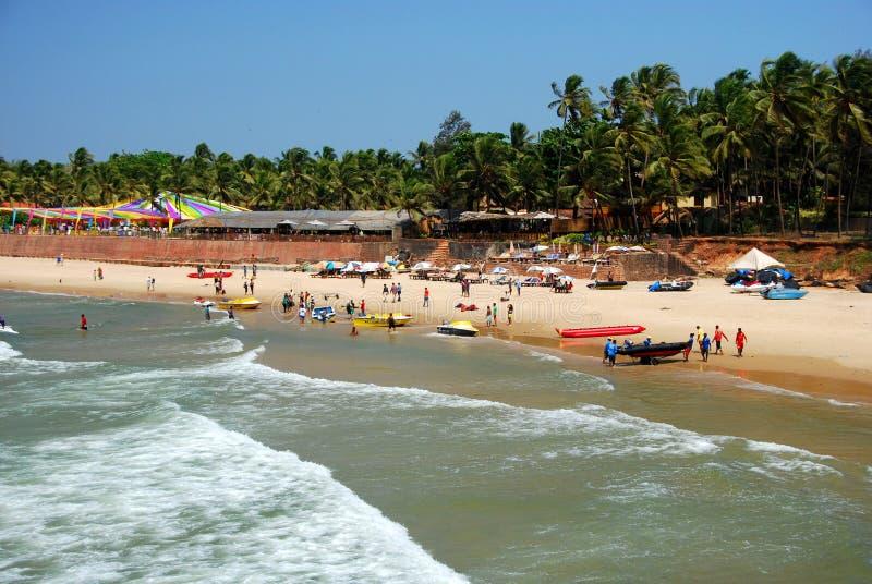 Praia de Sinquerim em Candolim fotos de stock