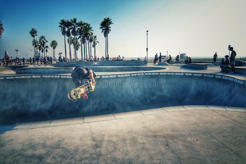 Praia de Skatepark Veneza, Los Angeles califórnia imagens de stock