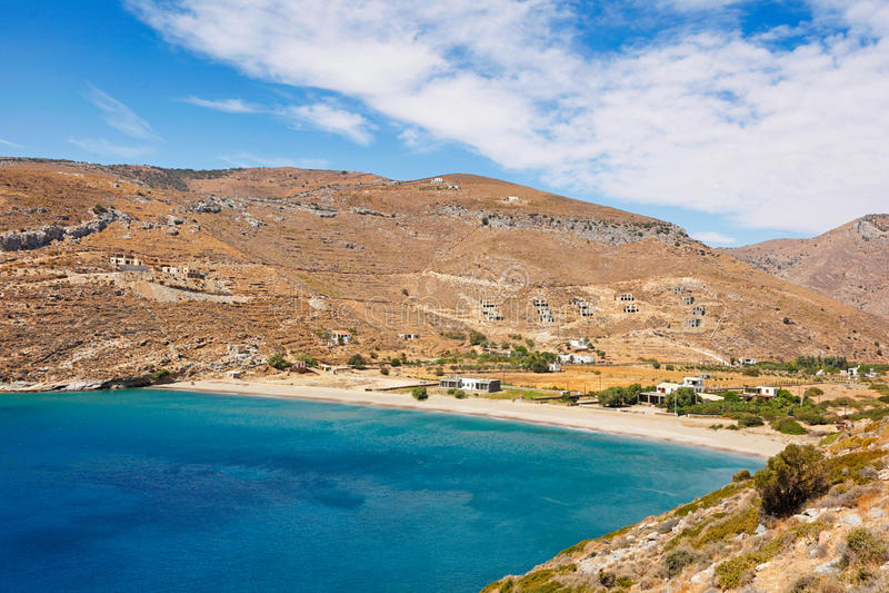 Praia de Spathi em Kea, Grécia fotos de stock