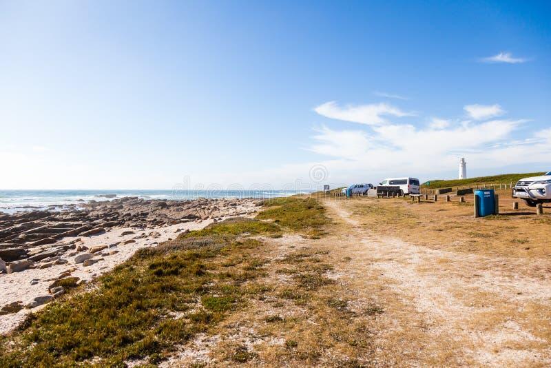 A praia de St Francis do cabo e a baía, África do Sul foto de stock