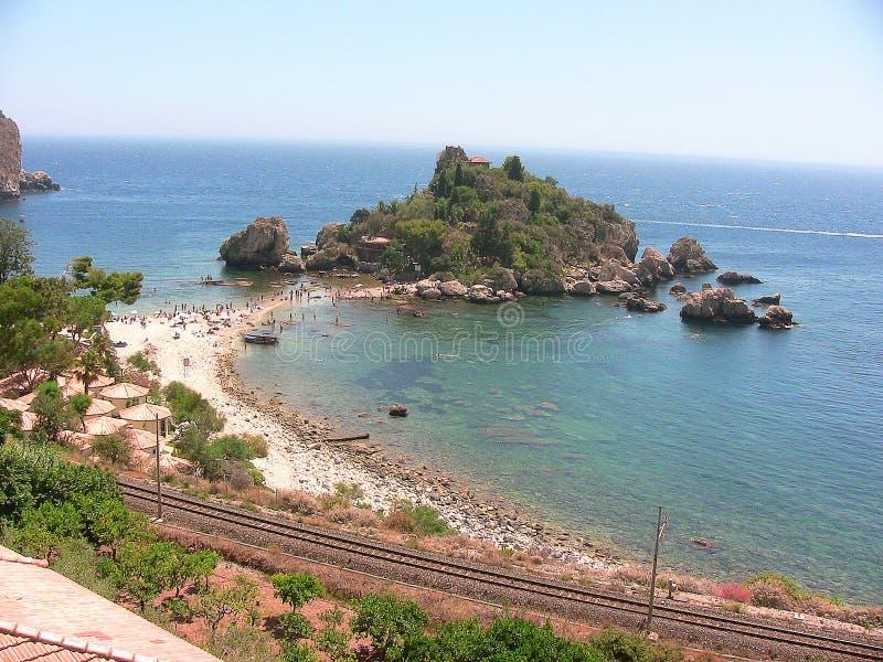 Praia de Taormina Isola Bella foto de stock royalty free