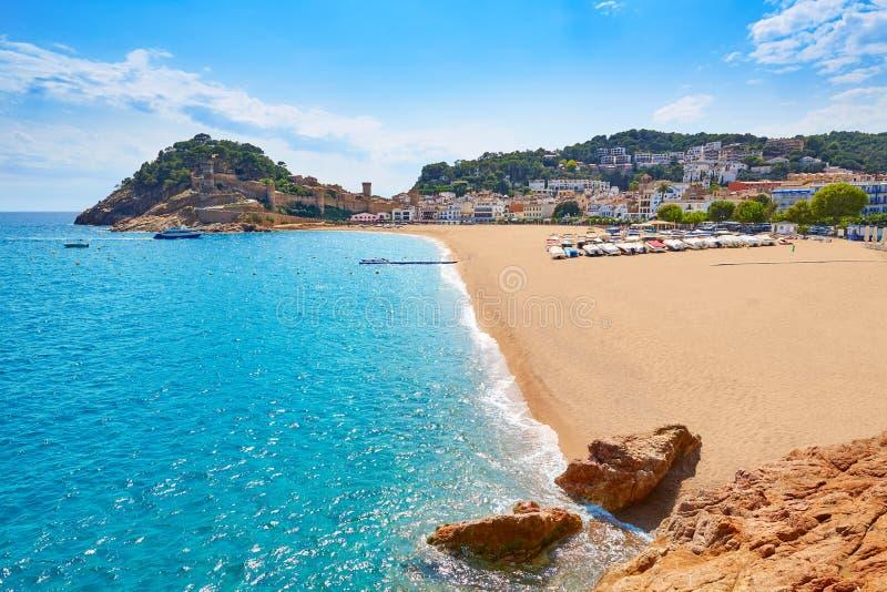 Praia de Tossa de Mar em Costa Brava de Catalonia fotos de stock