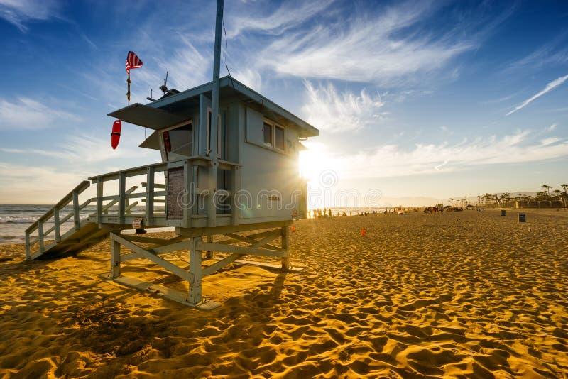 Praia de Veneza no por do sol em Los Angeles imagem de stock