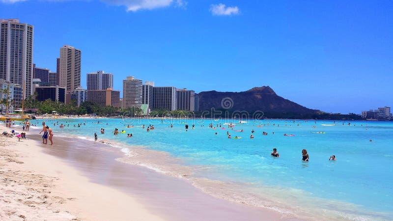 Praia de Waikiki fotografia de stock royalty free