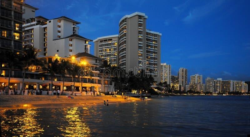 Praia de Waikiki - Havaí imagens de stock