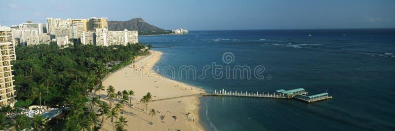 Praia de Waikiki, Honolulu, HI fotos de stock royalty free